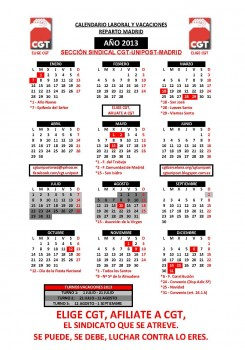 CALENDARIO VACACIONES 2013 - CGT (R&N) - Reparto Madrid